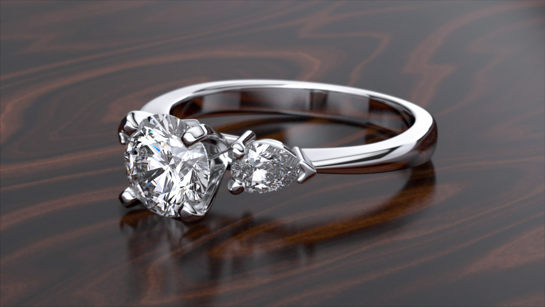 3D print ring stones pear