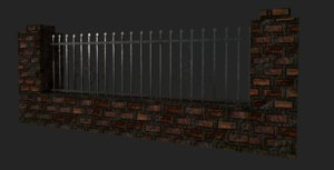 brick metal fence model