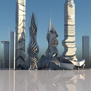 futuristic skyscrapers buildings 6 3D model