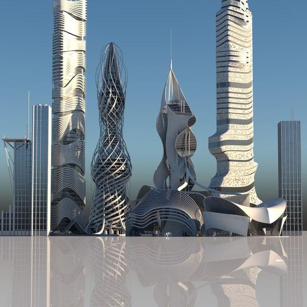 futuristic skyscrapers buildings 6 3D model