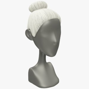 3D hairstyle old woman hair model