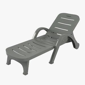 plastic sunlounger 3D