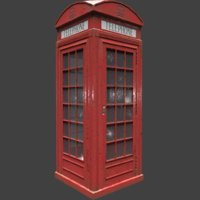 3D red telephone box weathered