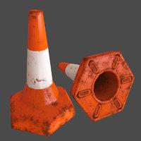 3D model traffic cone pbr