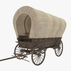 3D covered wagon