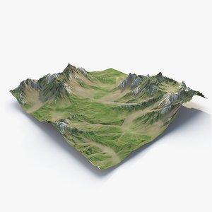 grassy valley terrain 3D