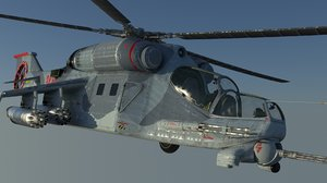 3D mi-24 hind attack helicopter