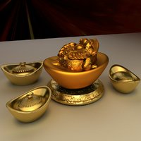 chinese gold ingot 3D model