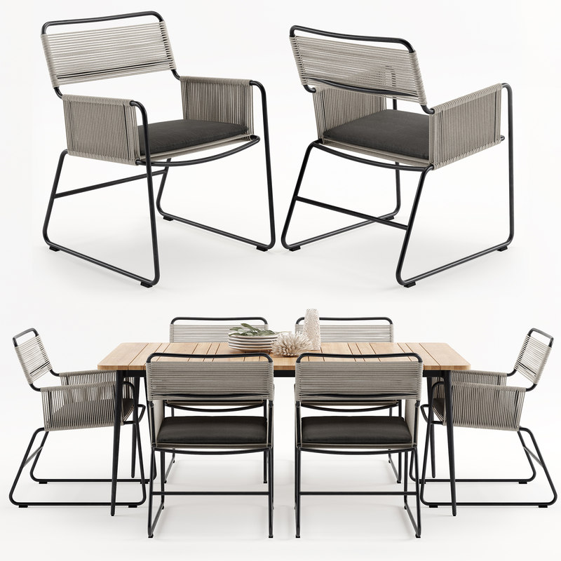 3D model milan outdoor carver table chairs