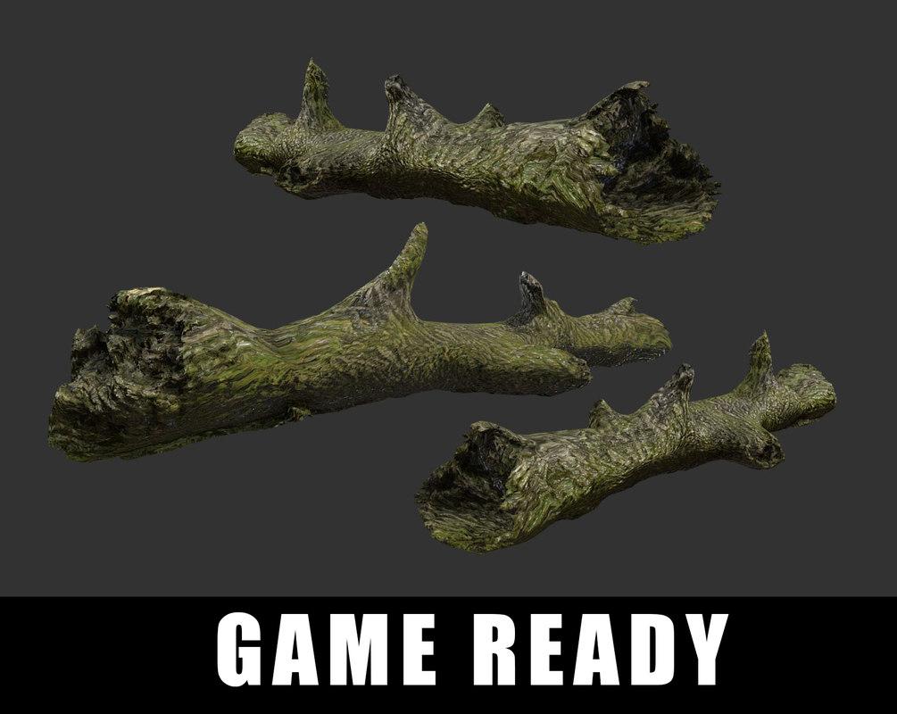 fallen tree log ready 3D