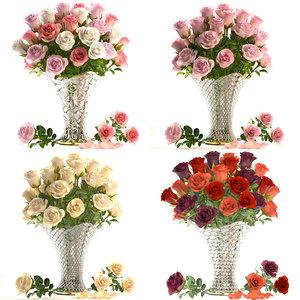roses vase bouquet 3D model