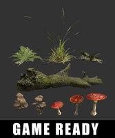 3D ready tree log grass model