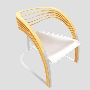 3D mettal wood chair