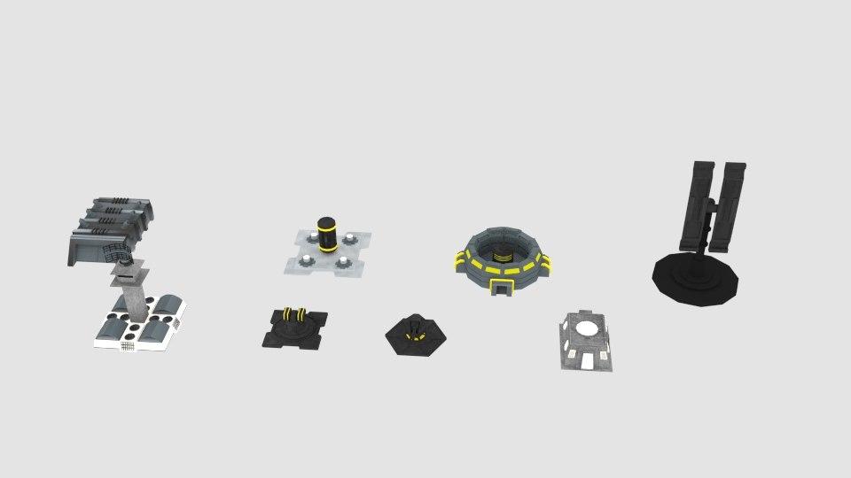 scifi space building 3D model