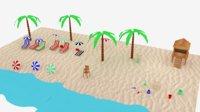 3D beach scene basic model