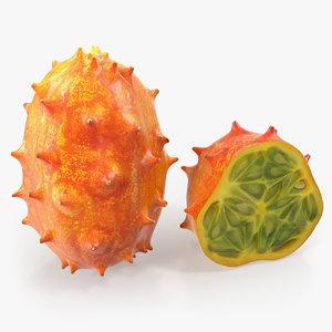 3D african kiwano fruit half