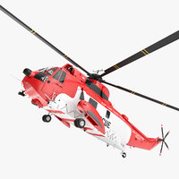 Irish Coast Guard Rescue Helicopter Sikorsky S-61 Sea King Rigged 3D Model