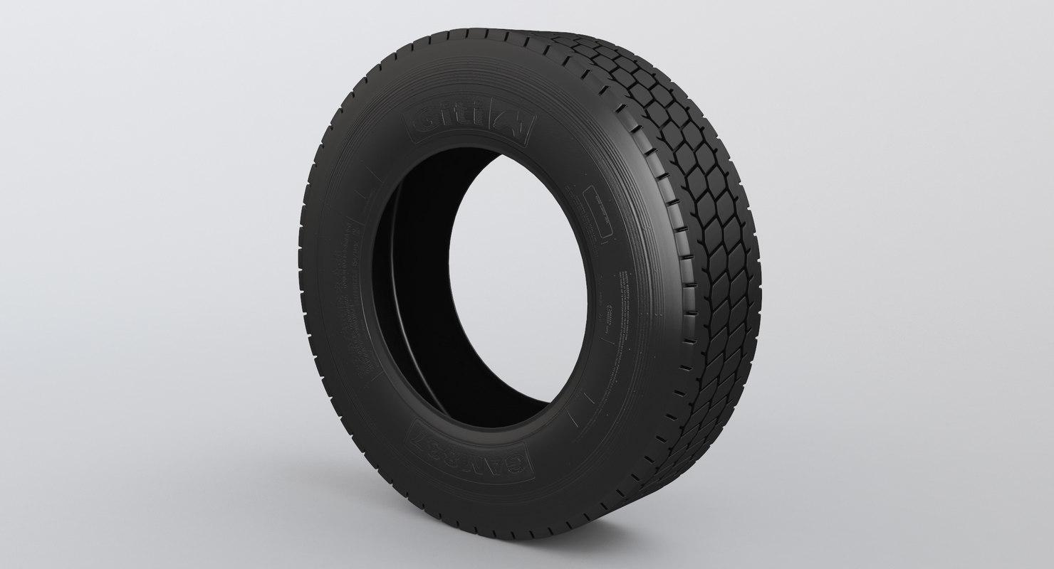 3D semi truck tyre wheel