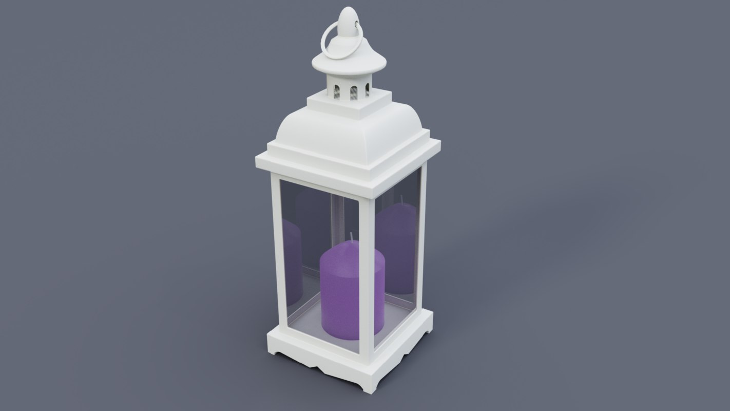 white lantern lavender candle model