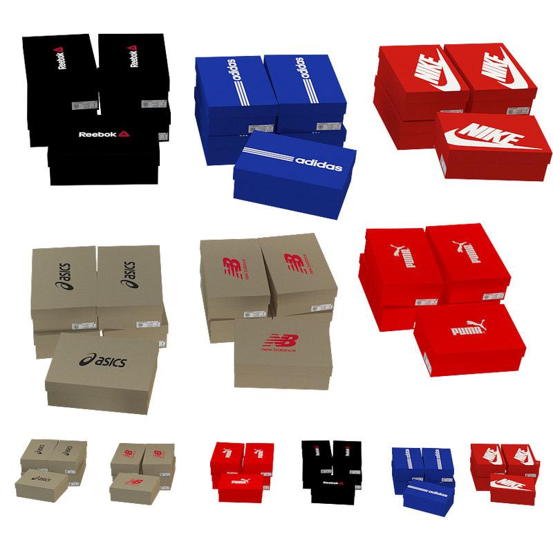 3D boxes shoes model