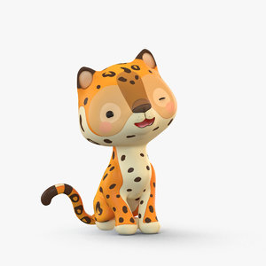 cute cartoon leopard 3D model
