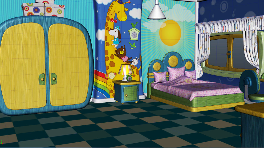3D model cartoon house interior scene