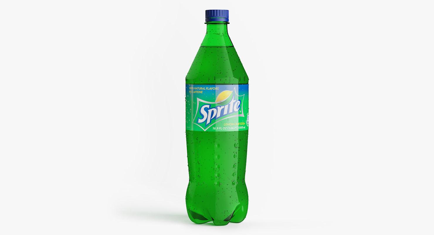 3D plastic bottle sprite 1l model