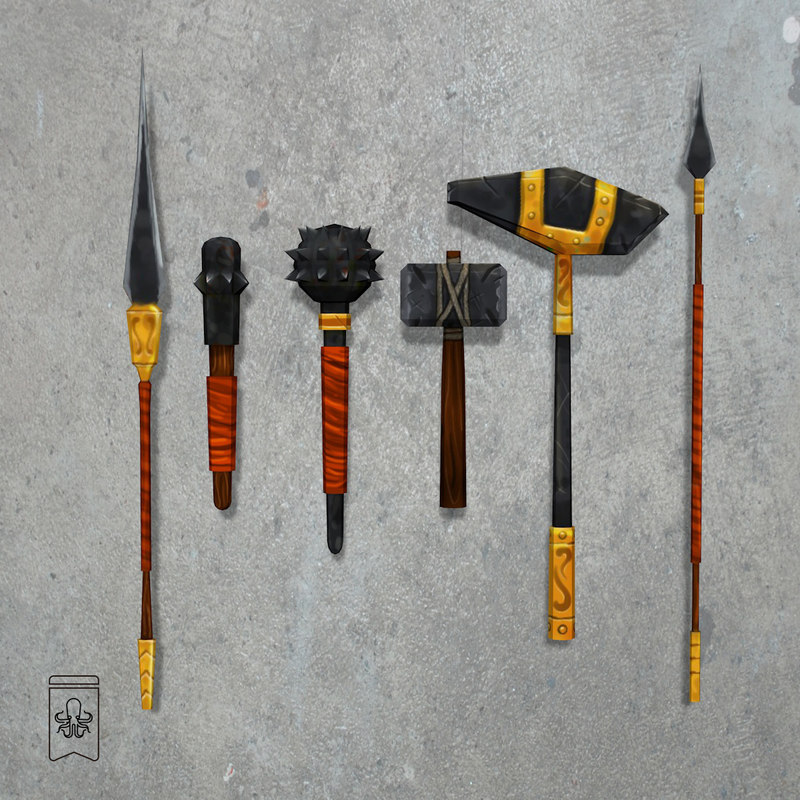 3D gladiator weapons