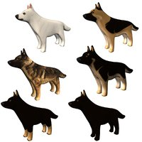german shepherd dog figurines 3D model