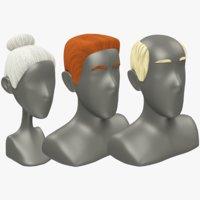 3D polygonal hairstyles woman hair