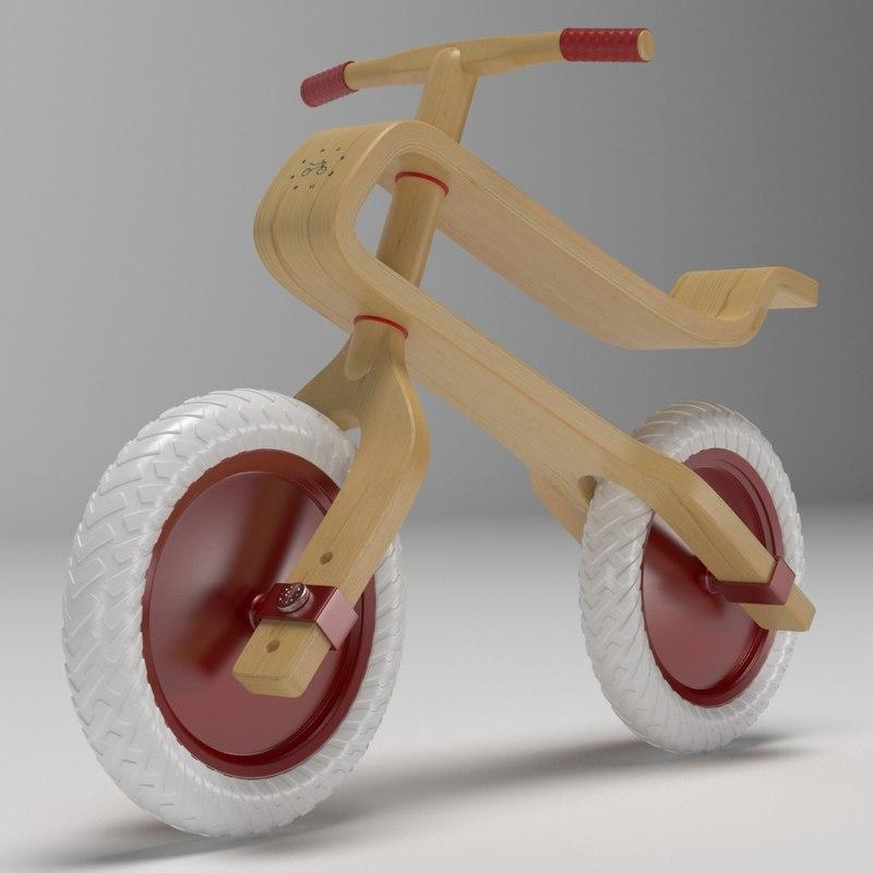3D brum wooden balance bike