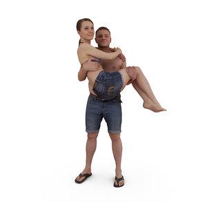 3D model beach lovers human body