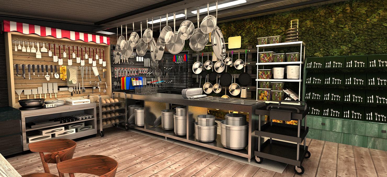 kitchenware bar restaurant 3D