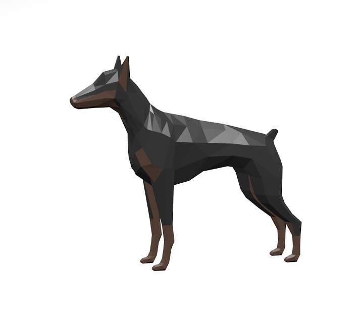animals dog doberman 3D model