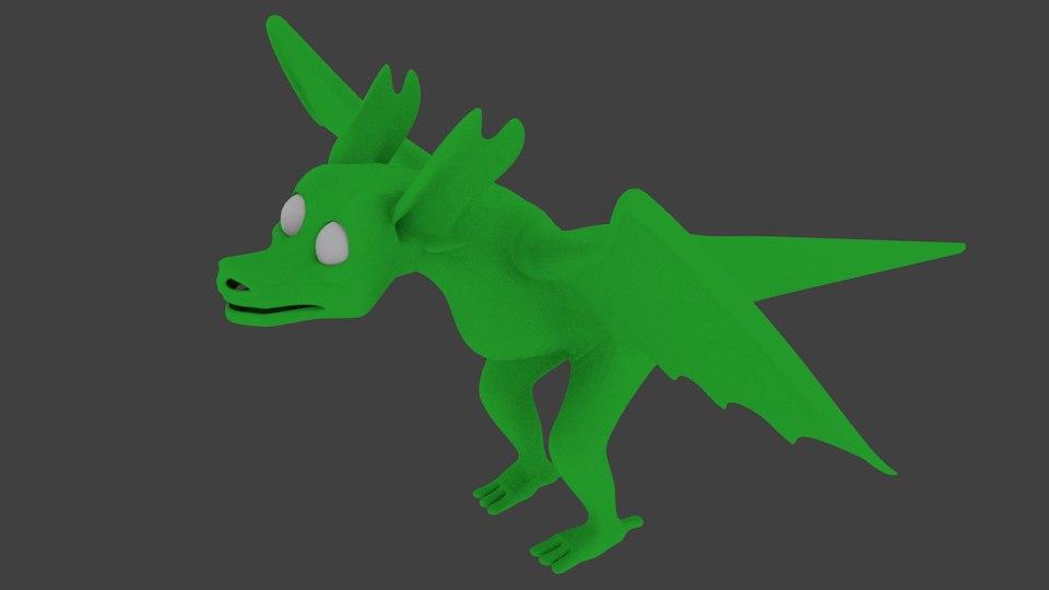 3D young dragon model