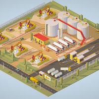 isometric production setting 3D