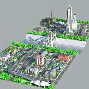 cartoonish skyscraper area 3D model