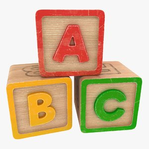 3D alphabet blocks model