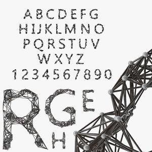 3D alphabet structure letter