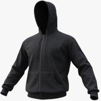 realistic black hoodie 01 3D model