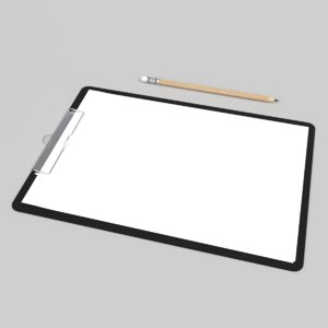 3D interior clipboard file paper
