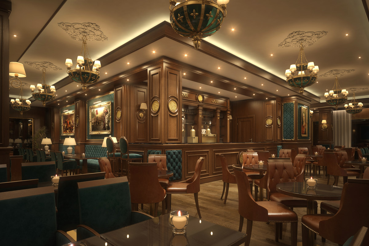 scene coffee bar restaurant 3D model