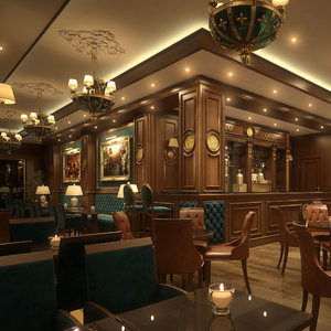 scene coffee bar restaurant 3D model