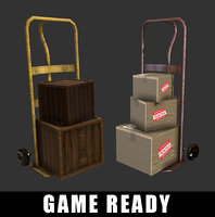 Hand Truck Cardboard Boxes Crate ( GAME READY )