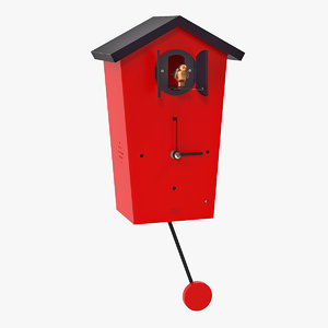 3D model automated cuckoo clock red