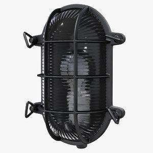 3D bulkhead light black model