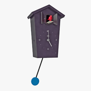 cuckoo clock black rigged 3D model