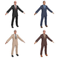 pack old businessman man 3D
