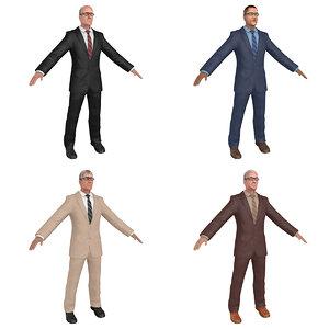 pack old businessman man 3D