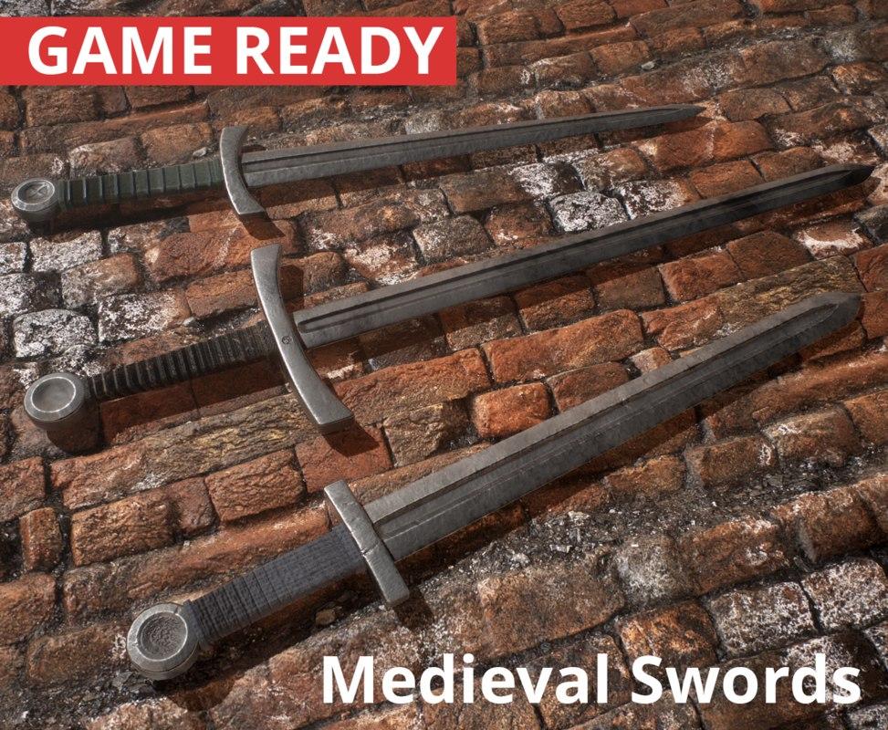 3D medieval swords 3 1 model